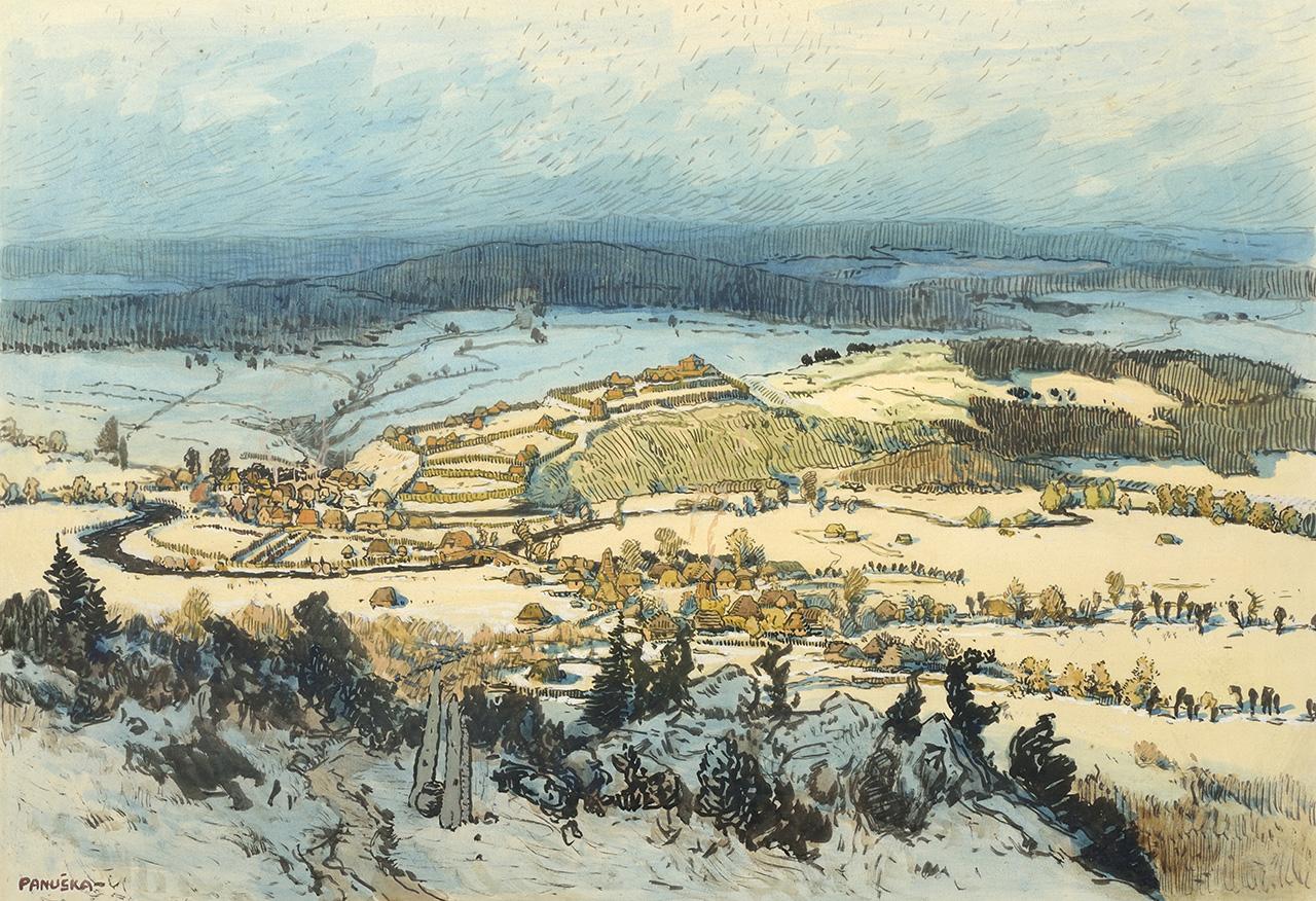 Prehistoric settlement Plzeň, mixed media, 31,5 × 51,5 cm, 1915–1916