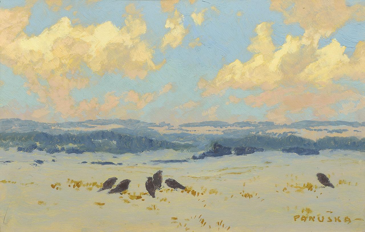 Winter landscape, oil on cardboard, 22,3 × 34,5 cm, about 1950