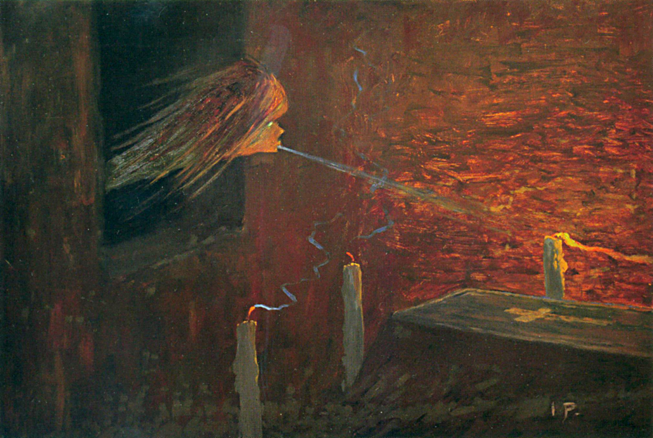 Pomsta mrtvému, tempera na papíře,  50 × 64 cm, 1898–1901