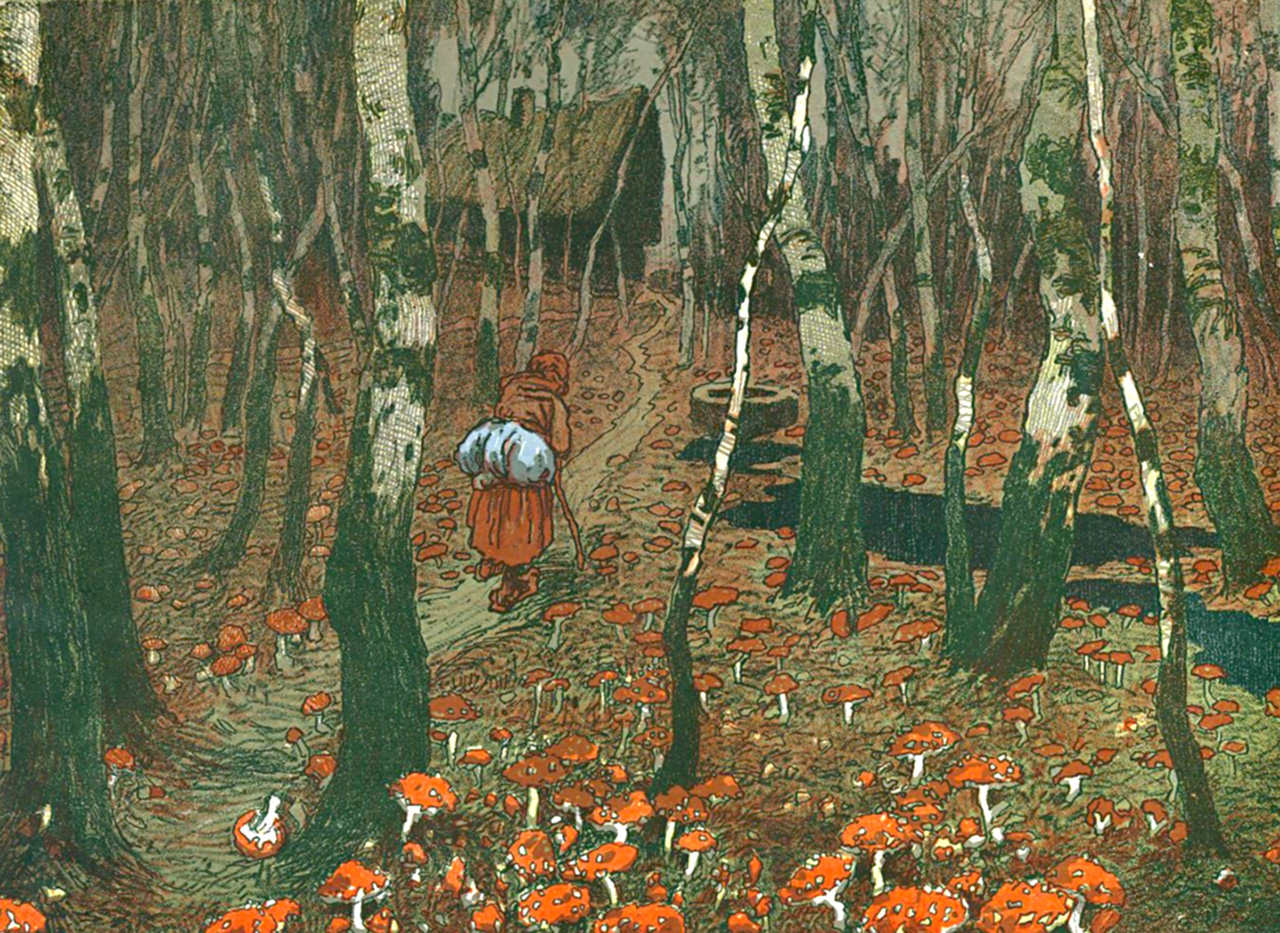Bába v muchomůrkách, vícebarevná litografie, ilustrace v knize Letní noc,  17 × 23 cm, 1904–1905