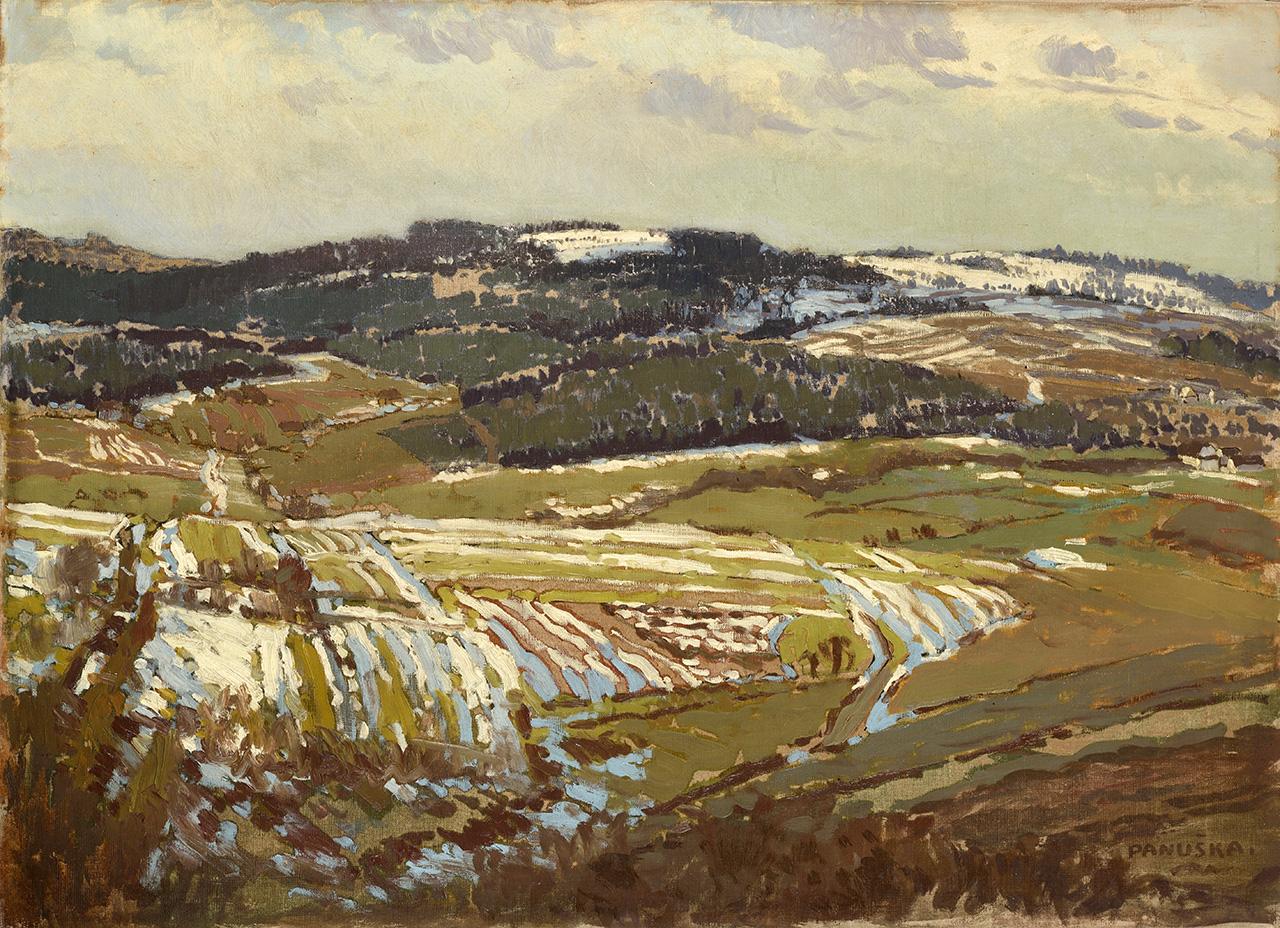 Štramberské okolí, olej na plátně,  64 × 88,5 cm, 1910–1911