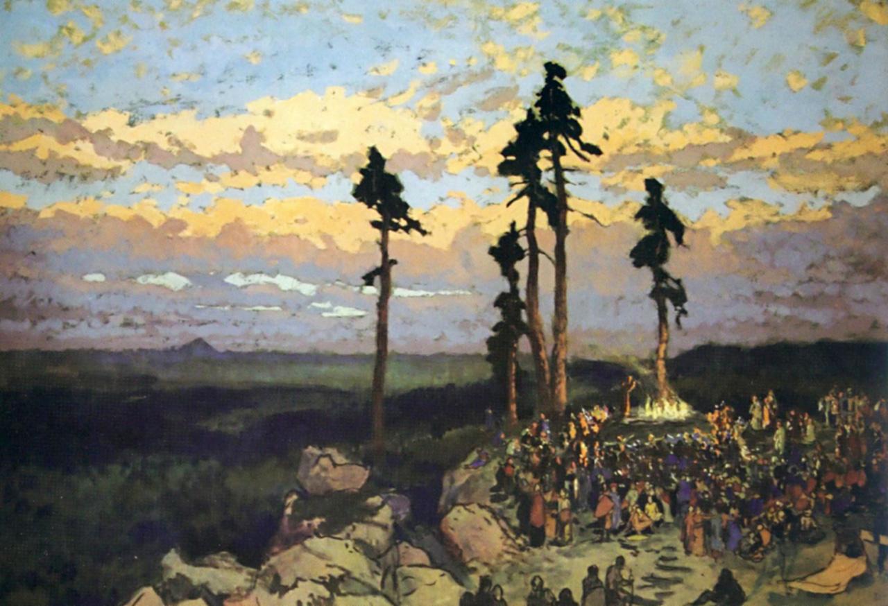 Pohanské obřady, olej na kartónu,  72 × 103 cm, 1915–1919